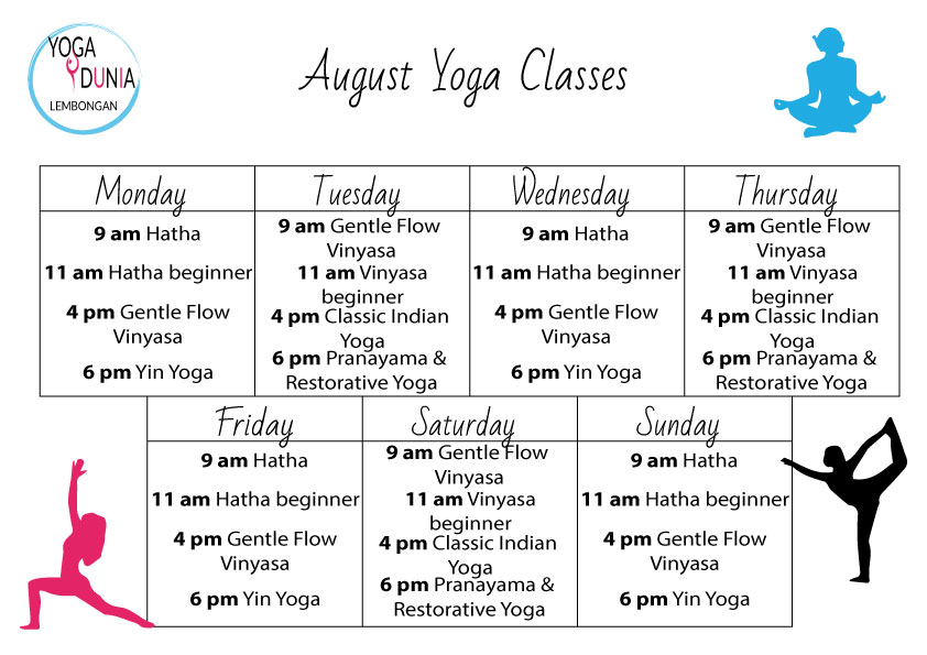 August-Schedule