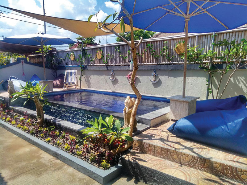 Pool Naturale Guest House, private room yoga retreat bali nusa lembongan